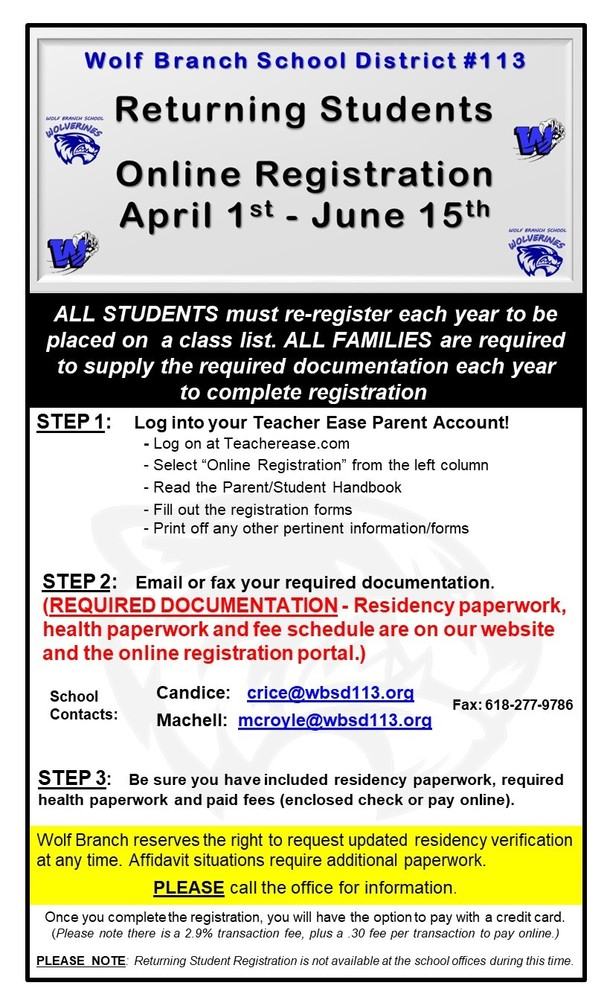 Registration for Returning Students