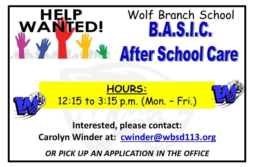 Help Wanted - Afternoon B.A.S.I.C.