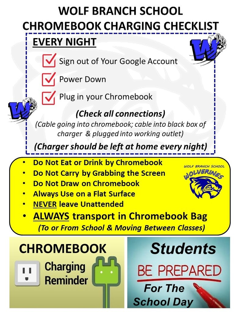 Reminder - Charge Chromebooks