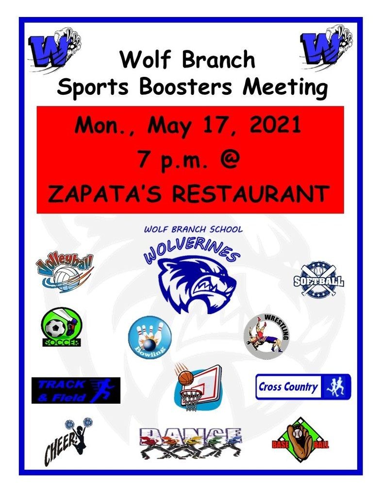 Sports Boosters Meeting - Mon., May 17, 2021 - 7 p.m. @ Zapata's