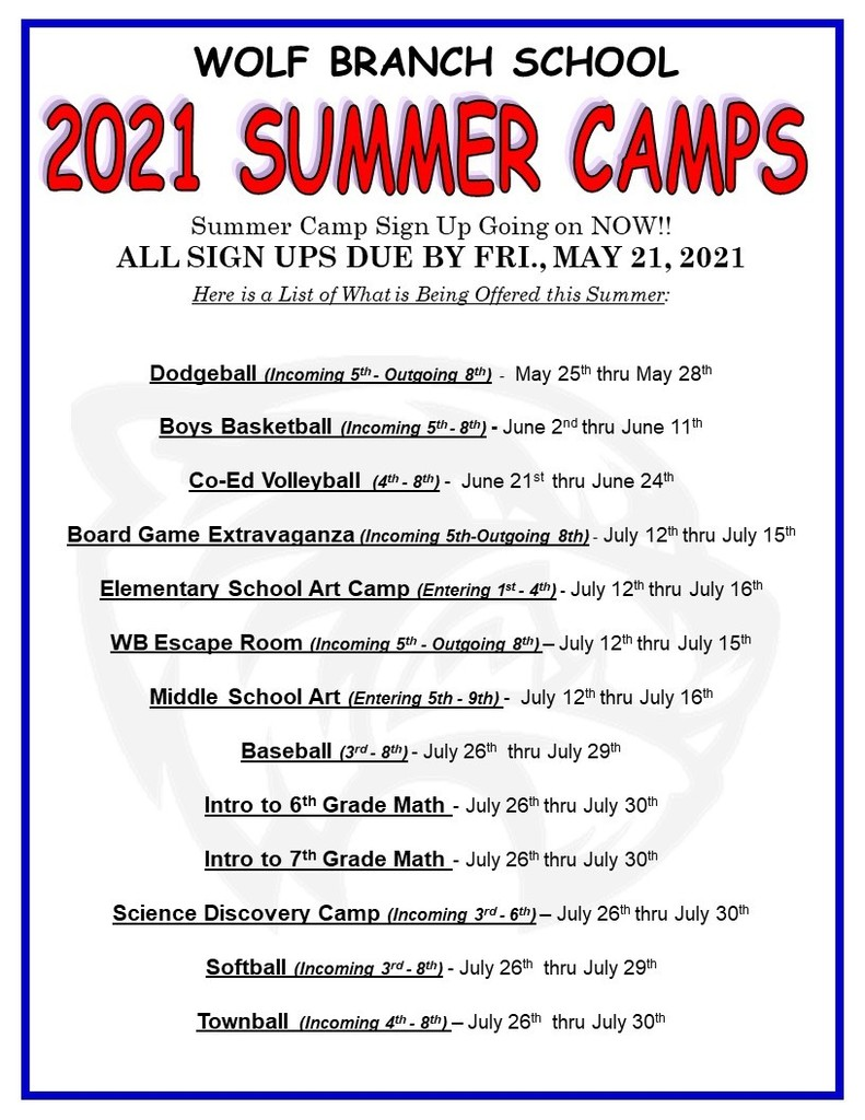 2021 Summer Camps at Wolf Branch