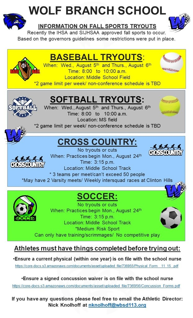 Wolf Branch Fall 2020 Sports Tryout Information