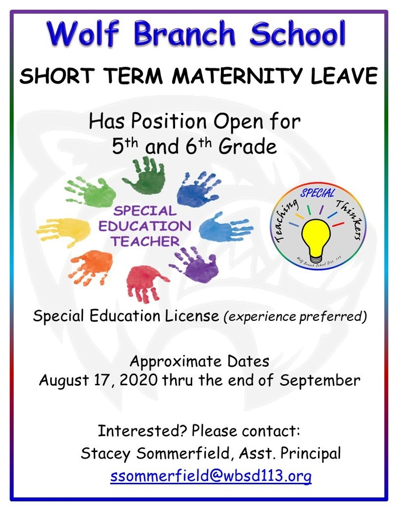 Wolf Branch Special Education Teacher for 5th & 6th Grade (for Short Term Maternity Leave)
