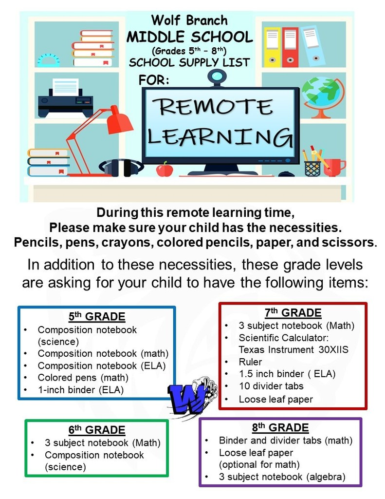 Wolf Branch Middle School Remote Learning School Supply List