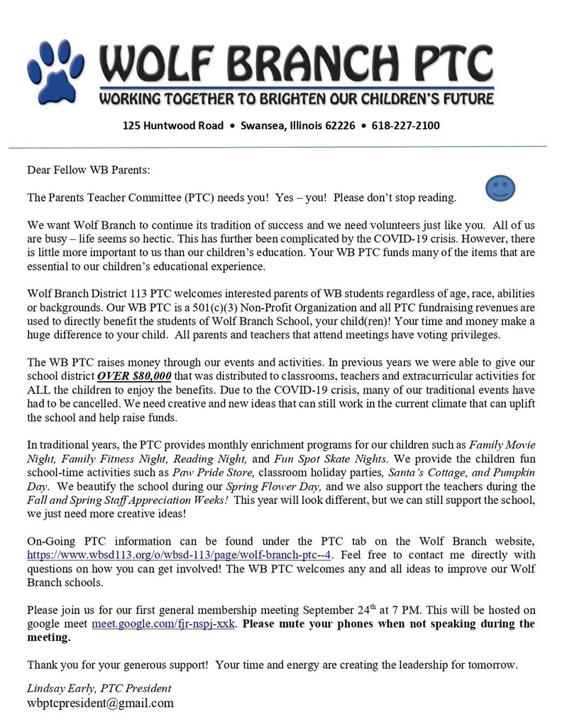 Wolf Branch PTC - Welcome Letter